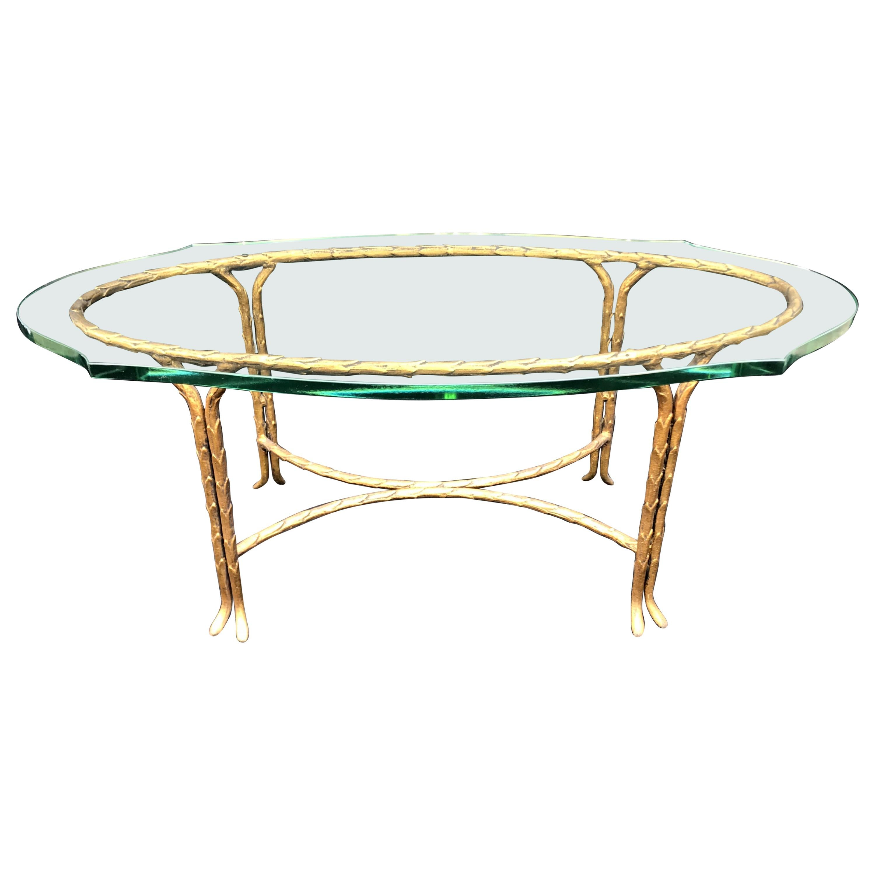 Wonderful French Maison Baguès Bronze Faux Bamboo Glass Coffee Cocktail Table