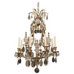 Wonderful French Neoclassical Bronze Crystal Regency Baguès 9-Light Chandelier