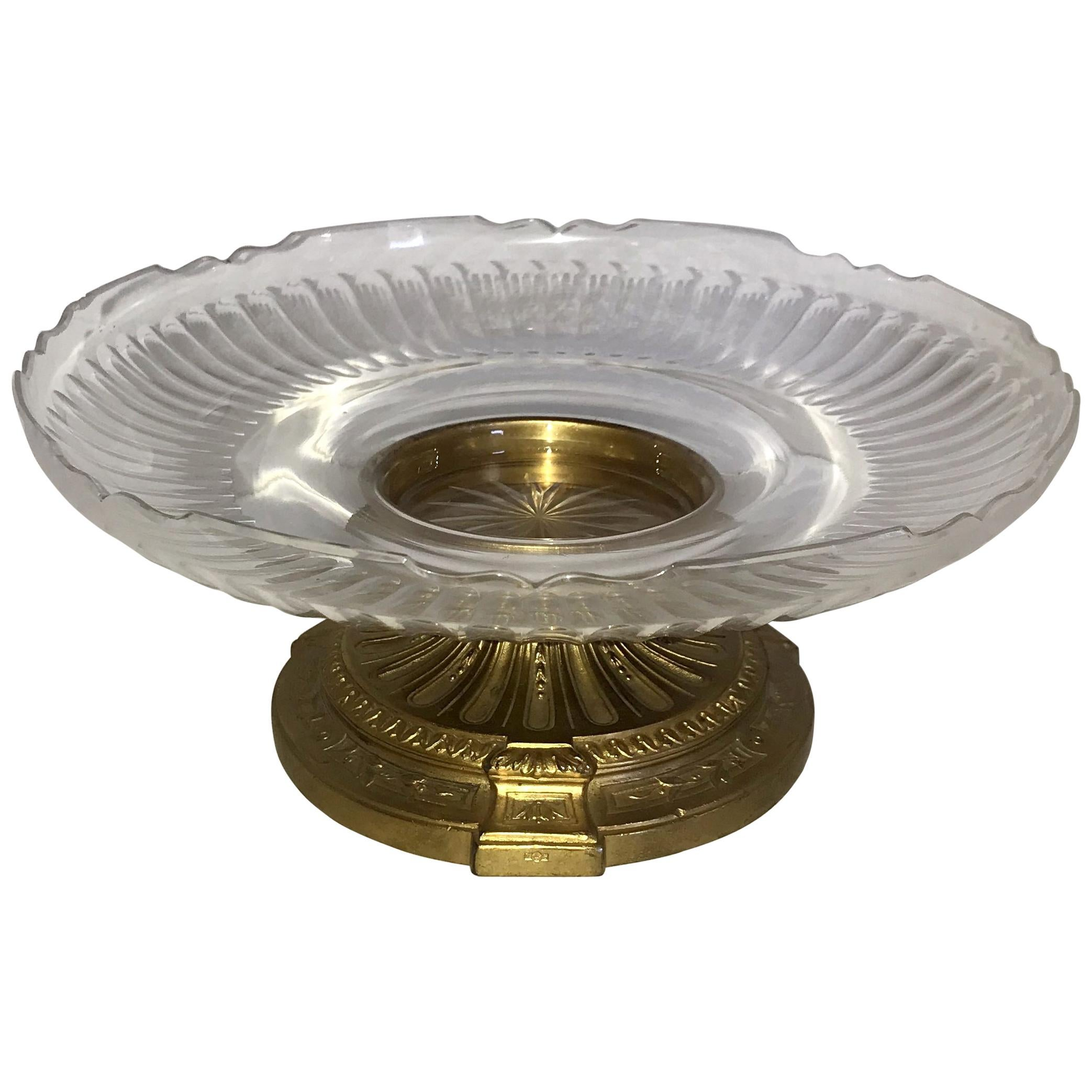 Wonderful French Neoclassical Bronze Crystal Round Centrepiece Cake Ormolu Stand