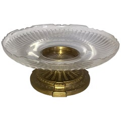 Wonderful French Neoclassical Bronze Crystal Round Centrepiece Cake Ormolu Stand