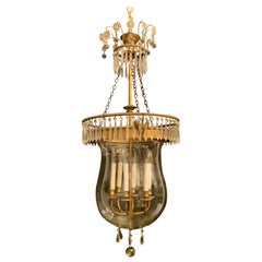 Wonderful French Neoclassical Large Empire Bronze Crystal Glass Bell Jar Lantern