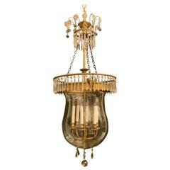 Wonderful French Neoclassical Large Empire Bronze Crystal Glass Bell Jar Lantern