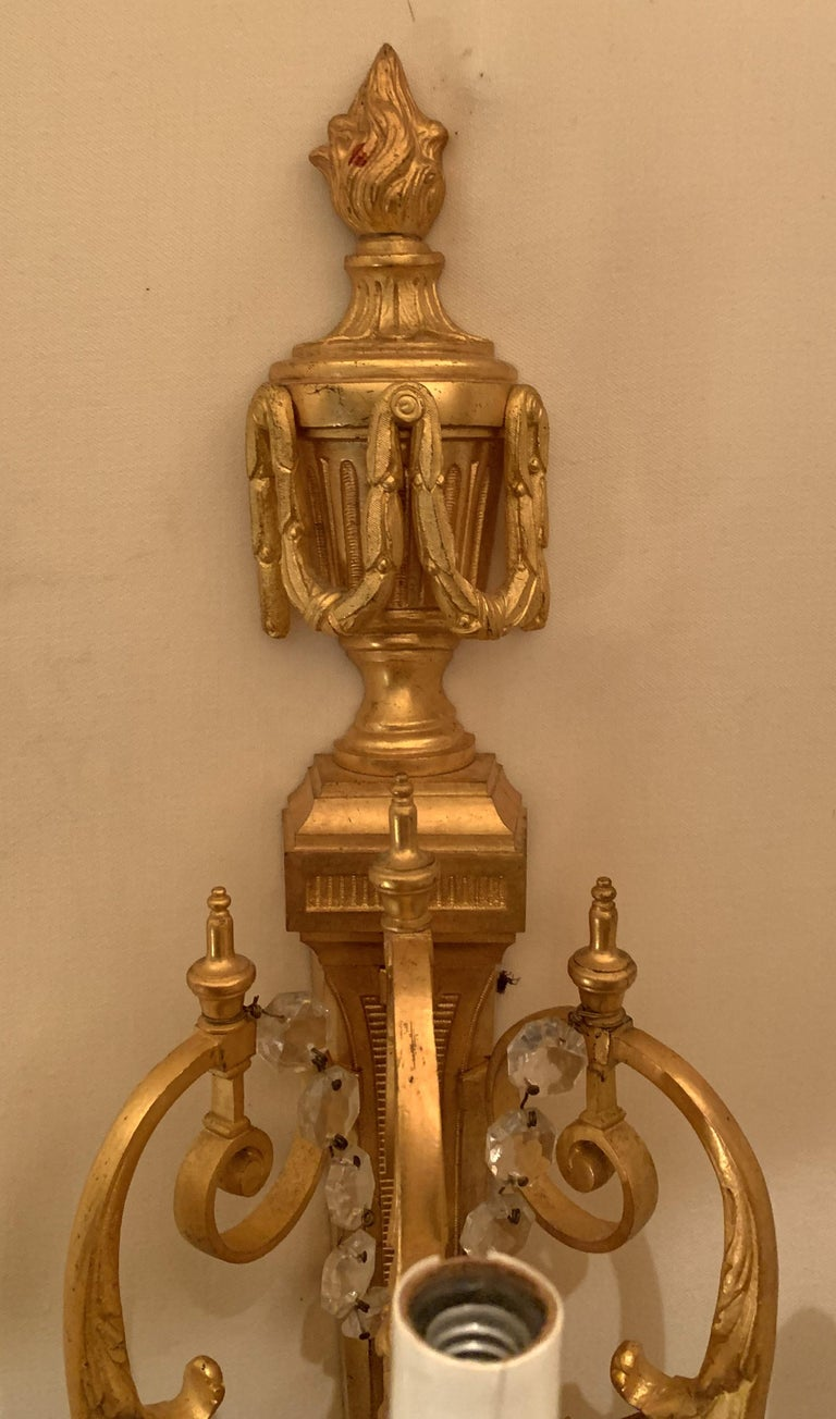Gilt Wonderful French Neoclassical Pair of Doré Bronze Crystal Swag Urn Flame Sconces For Sale