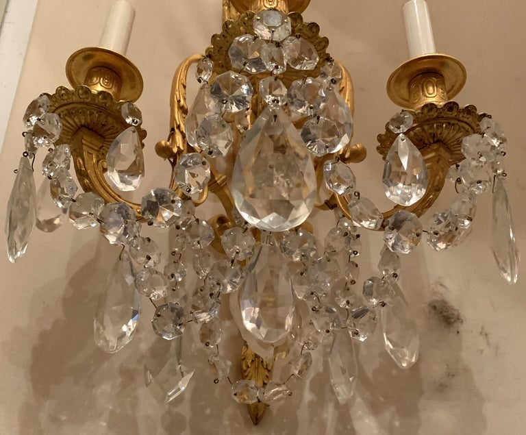 20th Century Wonderful French Neoclassical Pair of Doré Bronze Crystal Swag Urn Flame Sconces For Sale