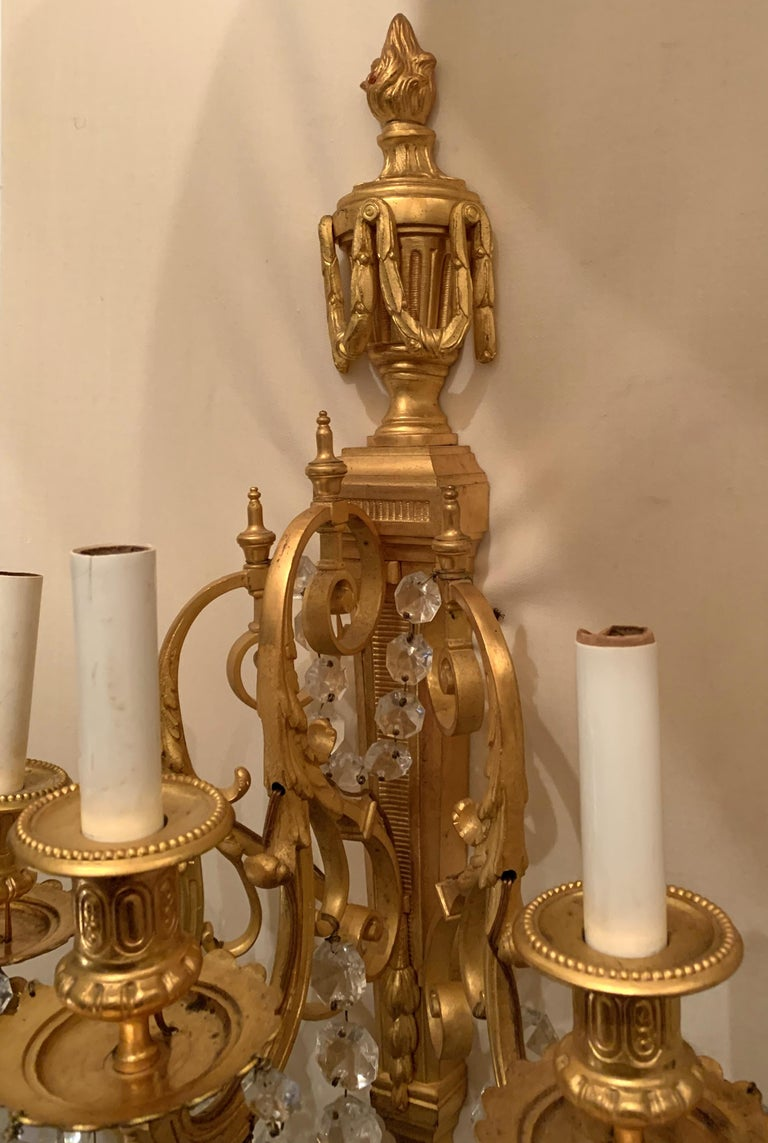 Wonderful French Neoclassical Pair of Doré Bronze Crystal Swag Urn Flame Sconces For Sale 3