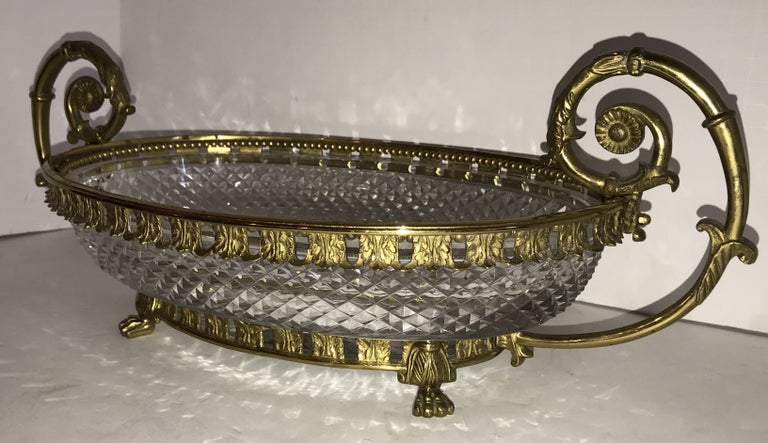 Neoclassical Wonderful French Ormolu Bronze Cut Crystal Oval Centrepiece Lions Feet Handles For Sale