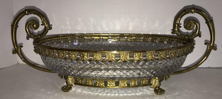 Faceted Wonderful French Ormolu Bronze Cut Crystal Oval Centrepiece Lions Feet Handles For Sale