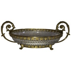 Wonderful French Ormolu Bronze Cut Crystal Oval Centrepiece Lions Feet Handles