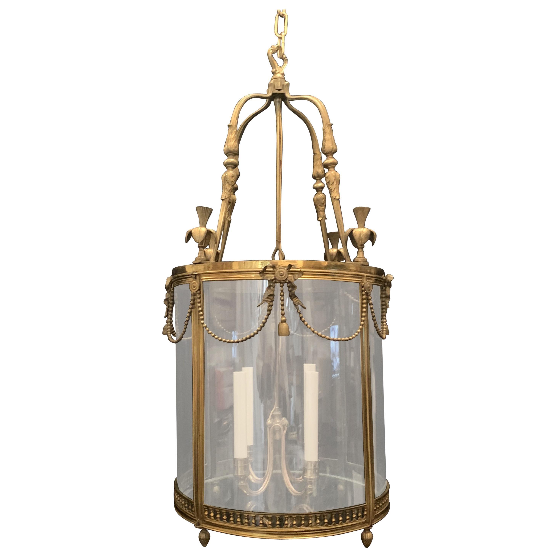 Wonderful French Ormolu Bronze Large Bow Ribbon Tassel Swag Four-Light Lantern