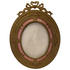 Wonderful French Oval Bronze Salmon Pink Enamel Flower Bow Top Picture Frame