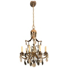 Wonderful French Pagoda Gilt Rock Crystal Baguès Chandelier Nine-Light Fixture