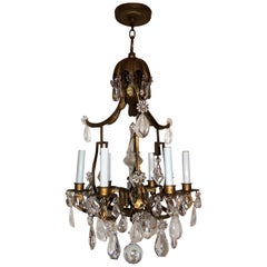 Wonderful French Pagoda Gilt Rock Crystal Baguès Chandelier Six-Light Fixture