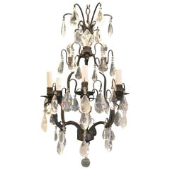 Wonderful French Patina Bronze Rock Crystal Petite Bird Cage Chandelier