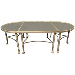 Wonderful French Polished Nickel Bronze Mirror Three Part Cocktail Coffee Table