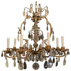 Wonderful French Rock Crystal Gold Gilt 8 Light Bird Cage Baguès Chandelier