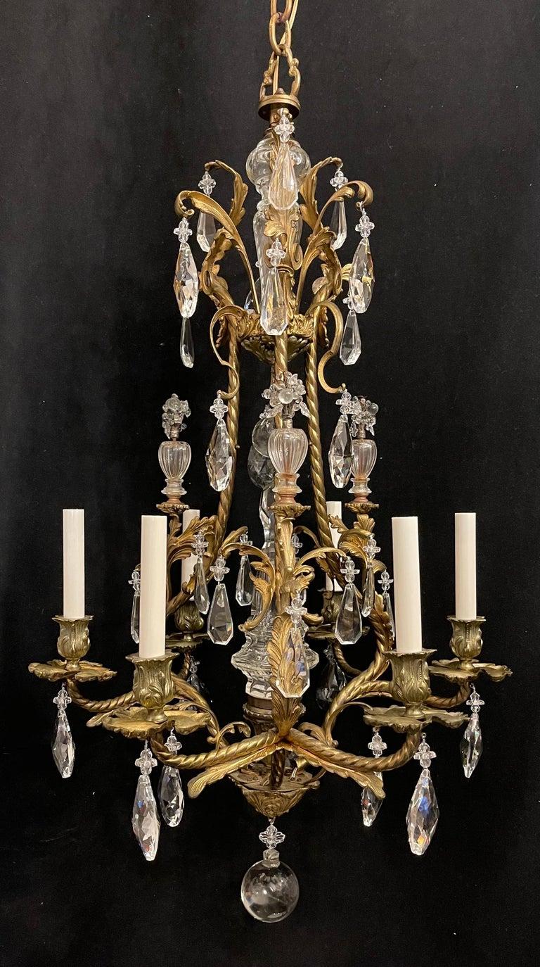20th Century Wonderful French Rococo Gilt Bronze Garland Cage Crystal Basket Chandelier For Sale