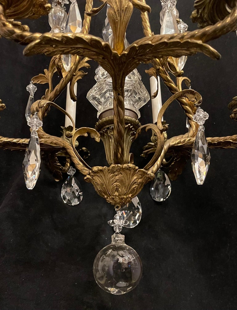 Wonderful French Rococo Gilt Bronze Garland Cage Crystal Basket Chandelier For Sale 1