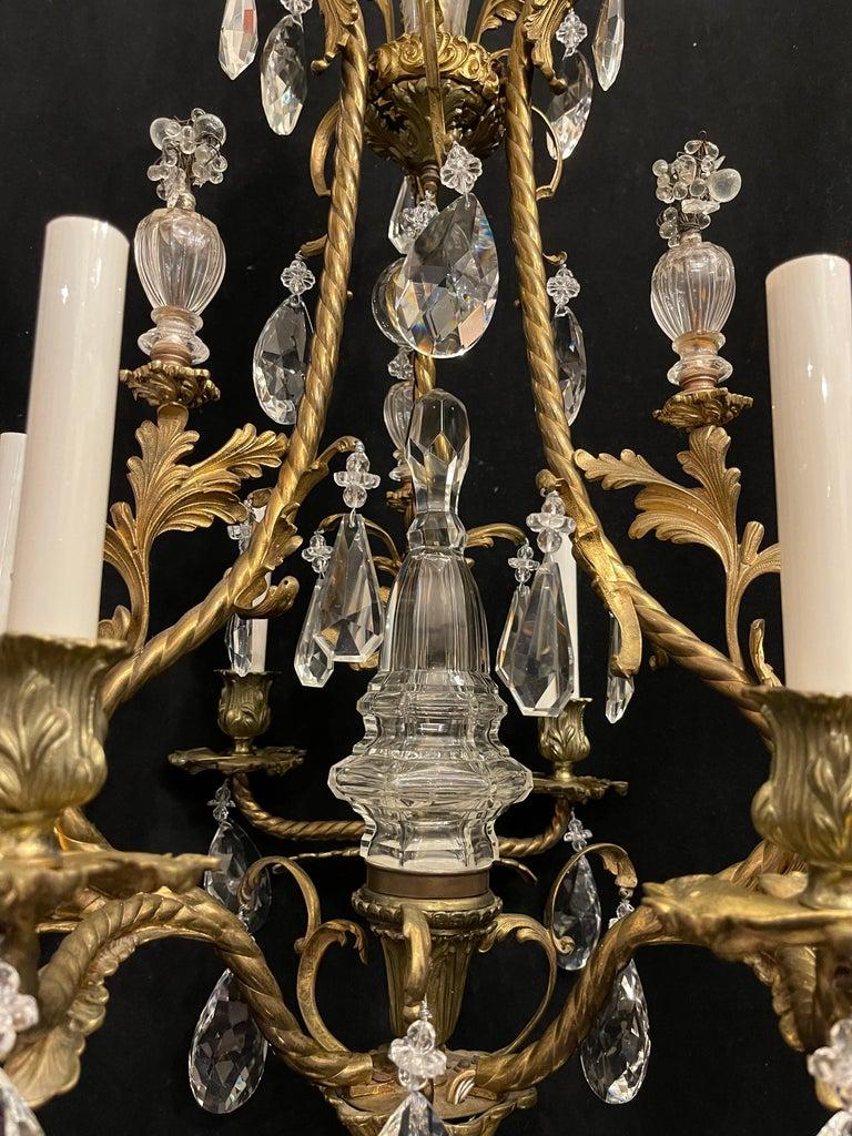 Wonderful French Rococo Gilt Bronze Garland Cage Crystal Basket Chandelier For Sale 3
