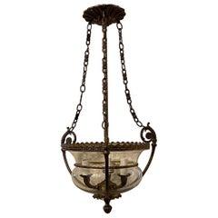 Wonderful French Semi Flush Mount Bronze Glass Bell Lantern Chandelier Fixture