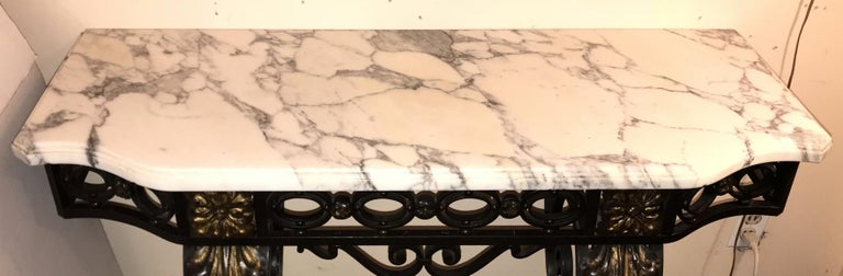Wonderful French Wrought Iron Gilt Louis XV Marble-Top Baroque Console Table In Good Condition For Sale In Roslyn, NY