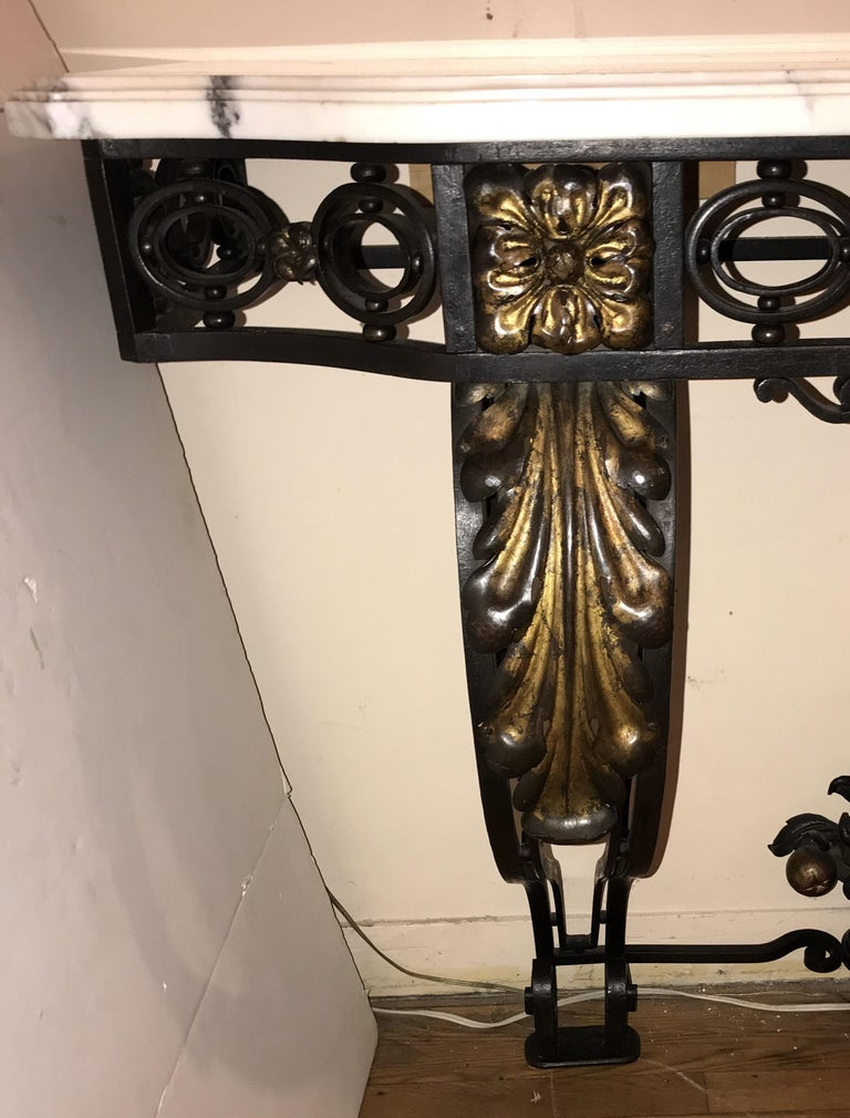 Early 20th Century Wonderful French Wrought Iron Gilt Louis XV Marble-Top Baroque Console Table For Sale