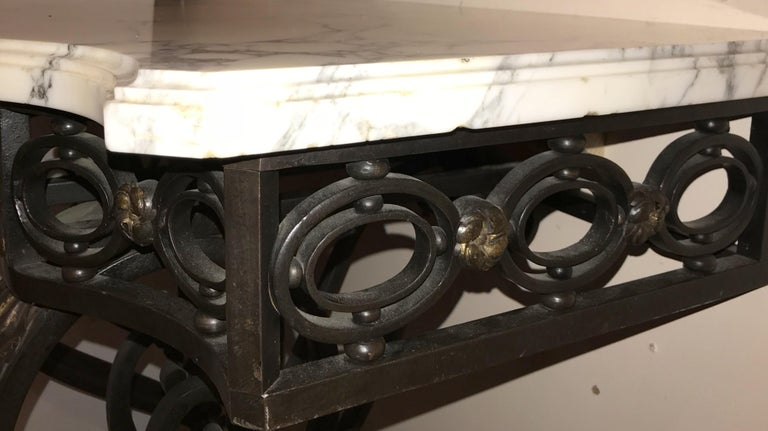 Wonderful French Wrought Iron Gilt Louis XV Marble-Top Baroque Console Table For Sale 3