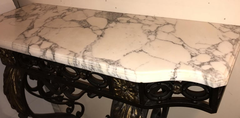 Wonderful French Wrought Iron Gilt Louis XV Marble-Top Baroque Console Table For Sale 4