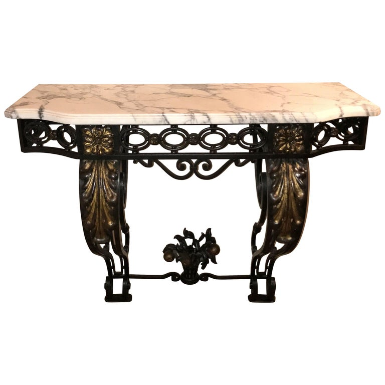 Wonderful French Wrought Iron Gilt Louis XV Marble-Top Baroque Console Table For Sale