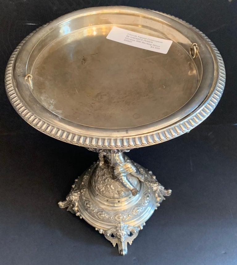 Wonderful German 800 Sterling Silver Cherub Figural Centerpiece Lazarus Posen In Good Condition For Sale In Roslyn, NY