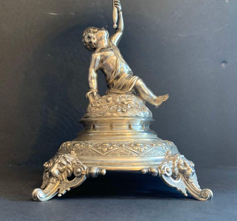 19th Century Wonderful German 800 Sterling Silver Cherub Figural Centerpiece Lazarus Posen For Sale