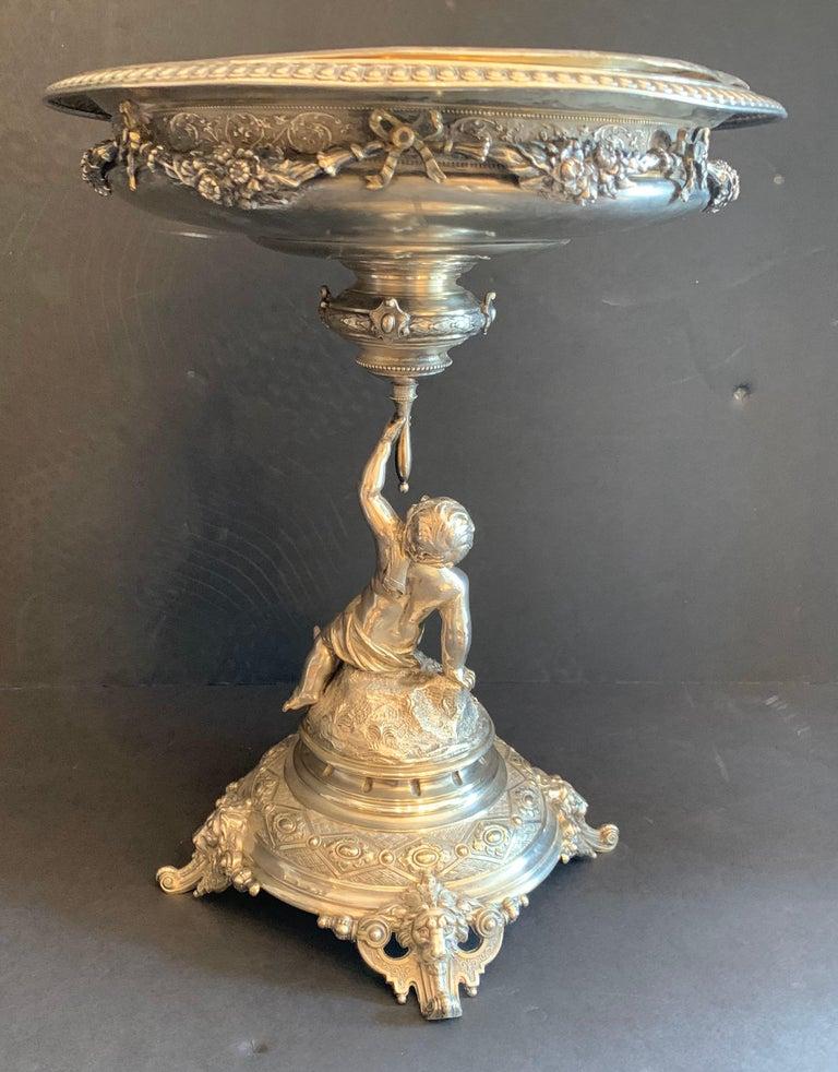 Wonderful German 800 Sterling Silver Cherub Figural Centerpiece Lazarus Posen For Sale 1