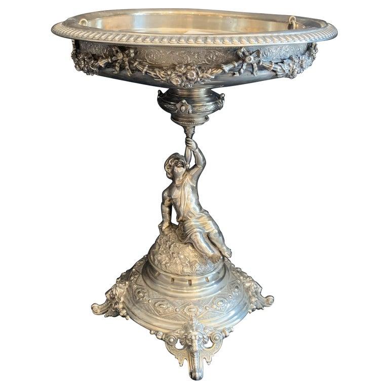 Wonderful German 800 Sterling Silver Cherub Figural Centerpiece Lazarus Posen For Sale