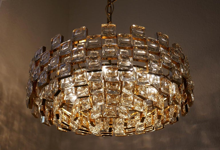 Wonderful crystal glass, gold plated brass pendant chandelier.