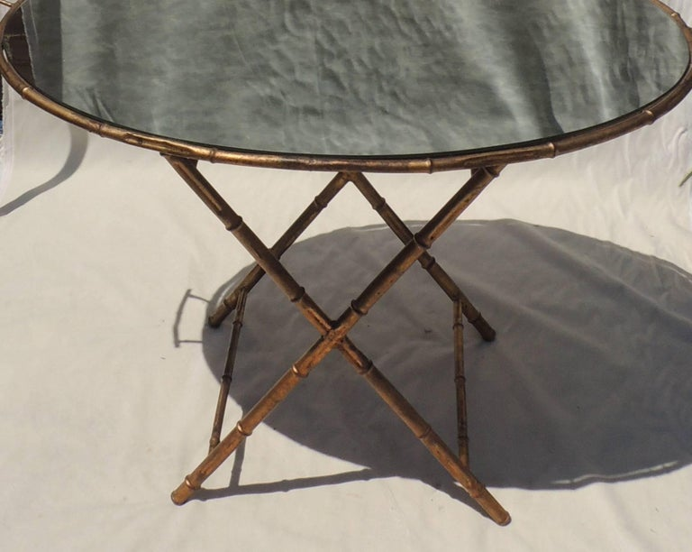Italian Wonderful Gilt Tole Baguès Jansen Bamboo Vintage Mirrored Tray Top Serving Table For Sale