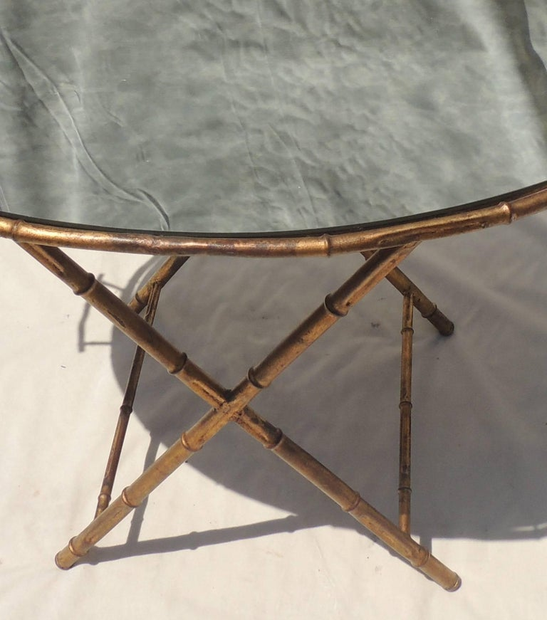 Late 20th Century Wonderful Gilt Tole Baguès Jansen Bamboo Vintage Mirrored Tray Top Serving Table For Sale
