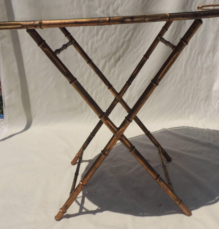 Wonderful Gilt Tole Baguès Jansen Bamboo Vintage Mirrored Tray Top Serving Table For Sale 1