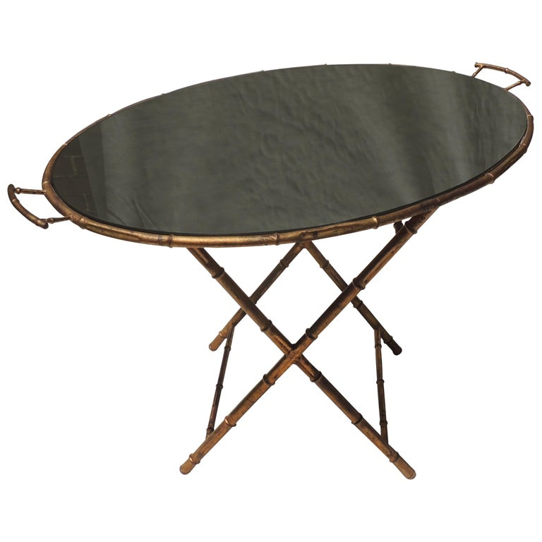 Wonderful Gilt Tole Baguès Jansen Bamboo Vintage Mirrored Tray Top Serving Table For Sale