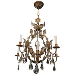 Wonderful Gold Gilt Iron Baguès Crystal Beaded Flower 8-Light Fixture Chandelier