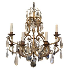 Wonderful Gold Gilt Iron Baguès Rock Crystal Beaded 9 Light Fixture Chandelier