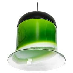 Wonderful Green Opal Glass Pendant Light, Peill & Putzler, Germany, 1970s