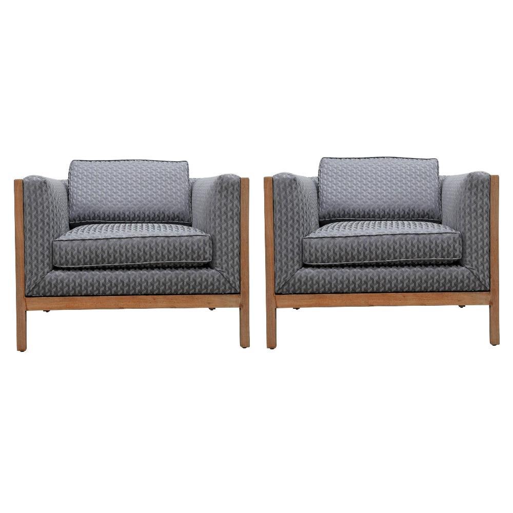 Wonderful Grey Modern Geometric Modern Club / Lounge Chairs by Stow Davis