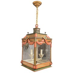 Wonderful Hand Painted Tole Pagoda Square Glass Chinoiserie Lantern Fixture