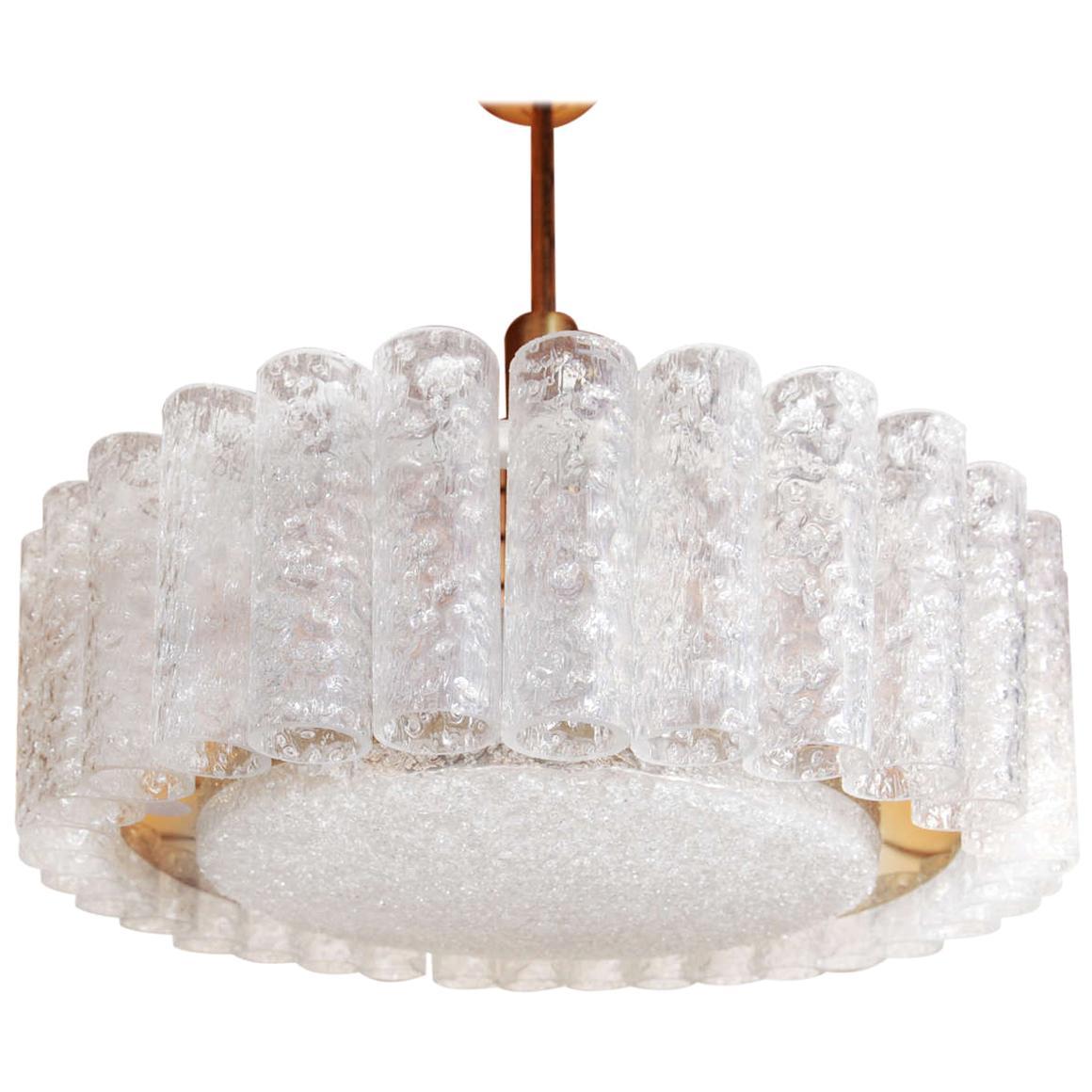 Wonderful Ice Glass Chandelier in Brass by Doria