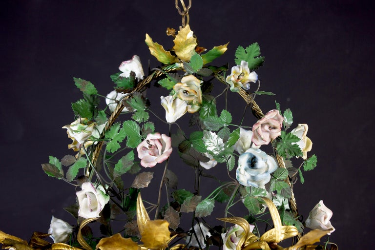 Mid-20th Century Wonderful Italian Basket Chandelier with Colorful Porcelain Flowers, 1940 For Sale