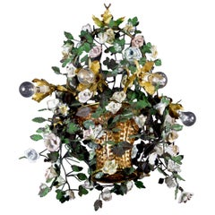 Wonderful Italian Basket Chandelier with Colorful Porcelain Flowers, 1940