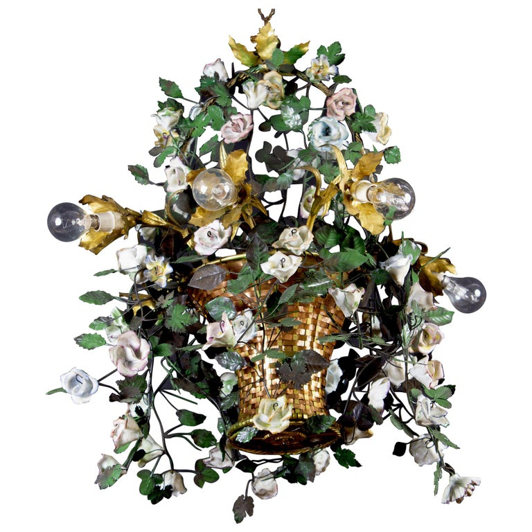 Wonderful Italian Basket Chandelier with Colorful Porcelain Flowers, 1940 For Sale