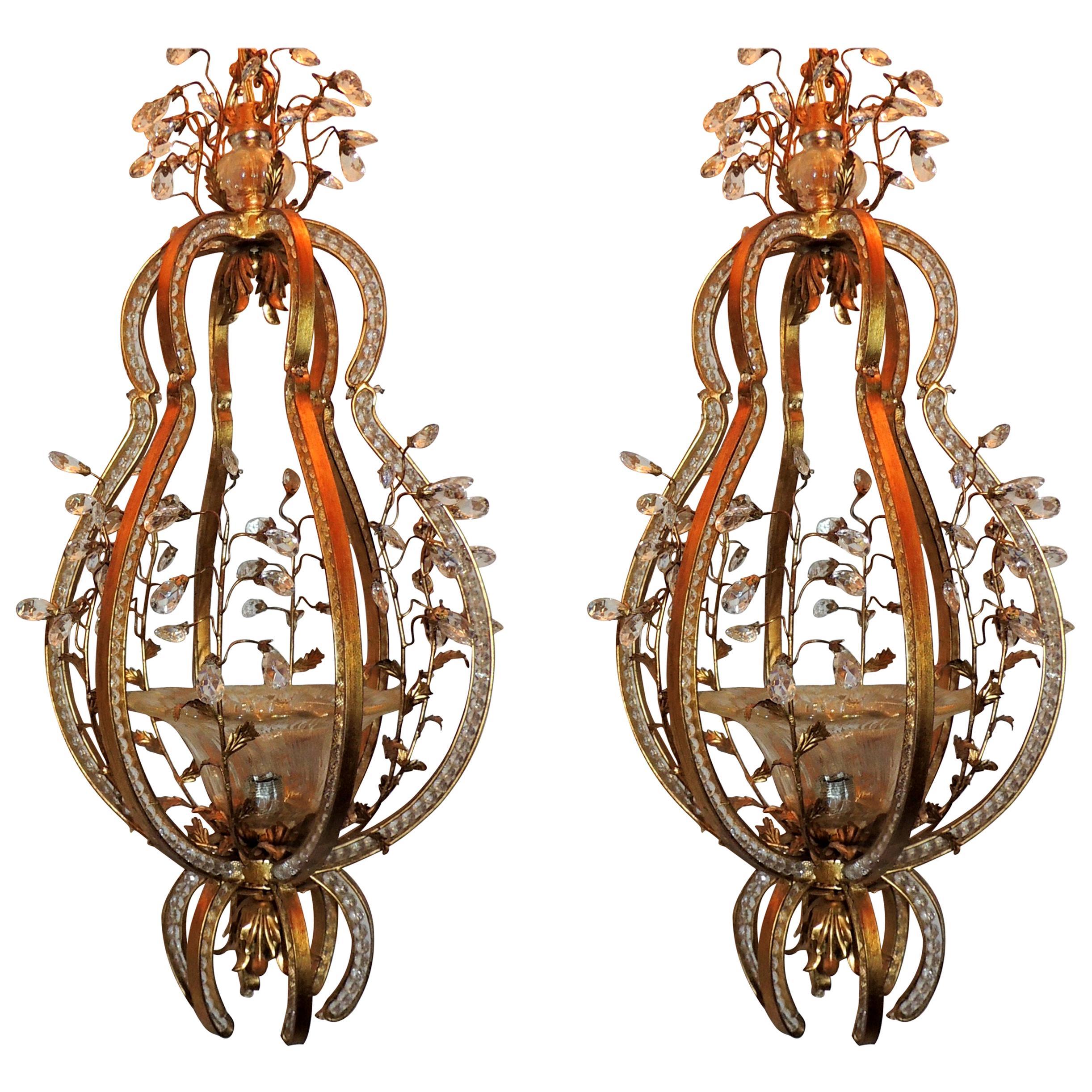Wonderful Italian Beaded Gilt Baguès Blown Glass Lantern Pendant Pair Chandelier