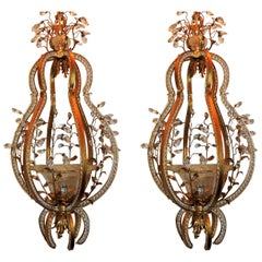 Wonderful Italian Beaded Gilt Baguès Blown Glass Lantern Pendant Pair Chandelier