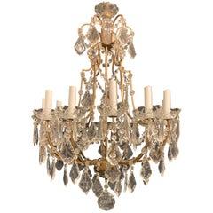 Wonderful Italian Crystal Gold Gilt 12-Light Fixture Chandelier
