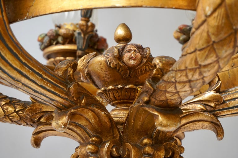 Wonderful Italian Giltwood Cherubs Putti and Painted Fruit Chandelier For Sale 12